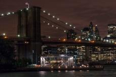 Picture of DUMBO Brooklyn Bridge Manhattan Bridge at Night in New York by Mary Catherine Messner mcmessner