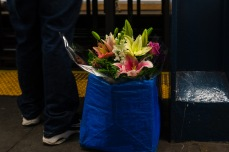 Picture of flower delivery in subway station in Alphabet City on the Lower East Side in New York City NYC New York by Mary Catherine Messner mcmessner
